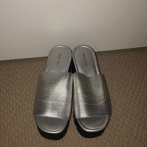 Nine West silver platform shoes